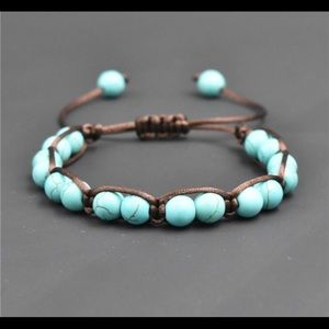 3/$23 turquoise bead knot Bracelet, brown